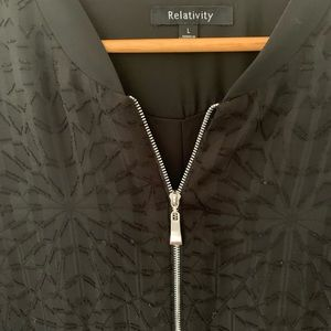 Relativity Black patterned jacket with zip